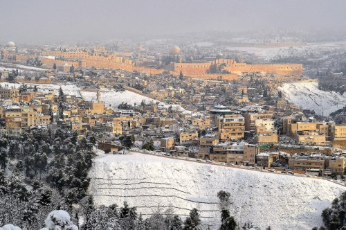 Snow in Jerusalem (photo via USCG Jerusalem/FB)