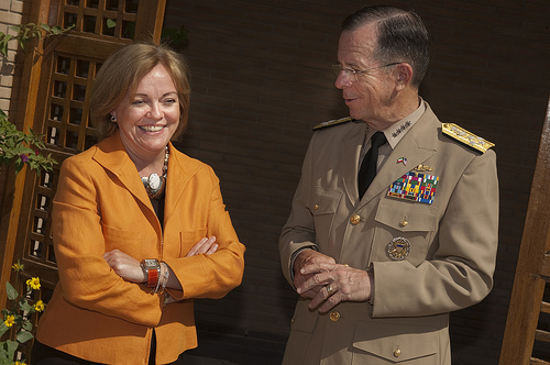 Adm. Mike Mullen, chairman of the Joint Chiefs of Staff is greeted by Deborah K. Jones, U.S. Ambassador to Kuwait and Chief of the Kuwaiti Army Lt. Gen. Sheikh Ahmad Al-Khaled in Kuwait City on April 1, 2010. (DoD photo by Mass Communication Specialist Chad J. McNeeley/Released)
