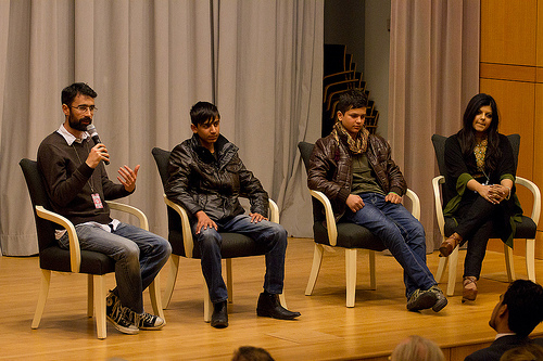 The stars and producer of the Oscar-nominated film Buzkashi Boys visit the U.S. Department of State in Washington, D.C., for a screening and Q and A on February 28, 2013. [State Department photo/ Public Domain]