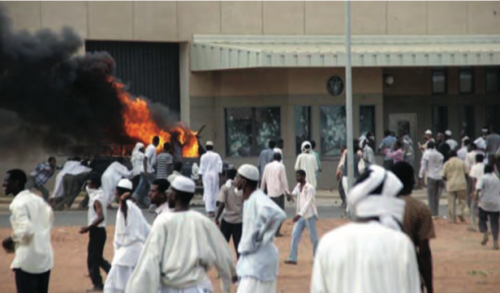 Thousands of protestors attacked the U.S. Embassy in Khartoum, Sudan, breaking windows, setting fire to the Consular Section entrance, and causing extensive damage. (U.S. Department of State Photos)