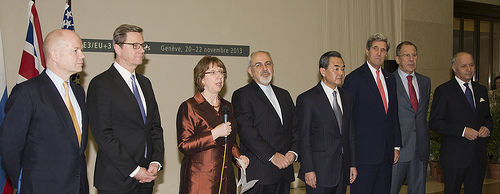 (L to R) British Foreign Secretary William Hague, German Foreign Minister Guido Westerwelle, Catherine Ashton, Iranian Foreign Minister Mohammad Javad Zarif, Chinese Foreign Minister Wang Yi, and US Secretary of State John Kerry,, Russian Foreign Minister Sergey Lavrov and Laurent Fabius, the French foreign minister