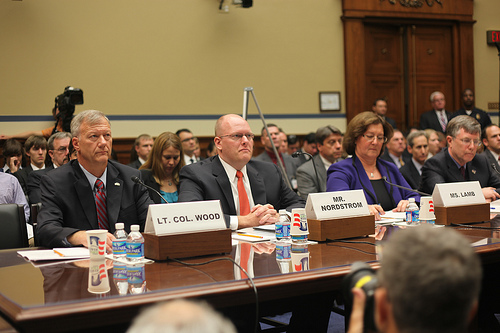 "Mr. Eric Nordstrom - Regional Security Officer, U.S. Department of State (second from left on the full witness panel) ""The Security Failures of Benghazi"" House Committee on Oversight and Government Reform Hearing, 10-10-12 (Photo via Oversight and Reform Committee/Flickr)"