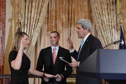 Secretary Kerry Swears in Heather Higginbottom as Deputy Secretary of State U.S. Secretary of State John Kerry swears in Heather Higginbottom as the Deputy Secretary of State for Management and Resources, at the U.S. Department of State in Washington, D.C., on January 30, 2014. [State Department photo/ Public Domain]