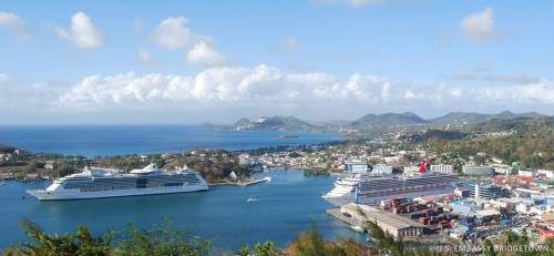 The view over Castries Harbor from a viewing point just below the Government House of St. Lucia. Photo by Cultural Affairs Assistant, Khalil Goodman, US Embassy Bridgetown/FB