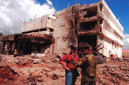 August 1998:  The U.S. Embassy in Dar es Salaam, Tanzania, in the aftermath of the August 7, 1998, al-Qaida suicide bombing. Eleven Tanzanians, including 7 Foreign Service Nationals, died in the blast, and 72 others were wounded. The same day, al-Qaida suicide bombers launched another near-simultaneous attack on the U.S. Embassy in Nairobi, Kenya, which killed 218 and wounded nearly 5,000 others. (Source: DS Records)