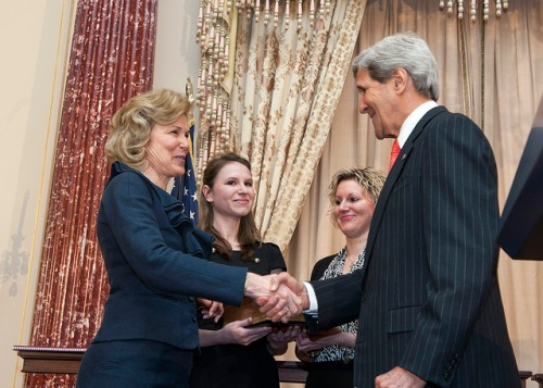 Secretary Kerry Swears in Ambassador Birx U.S. Secretary of State John Kerry shakes hands with Deborah Birx after swearing her in as Ambassador-at-Large and Coordinator of the United States Government Activities to Combat HIV/AIDS at the U.S. Department of State in Washington, D.C., on April 25, 2014. [State Department photo/ Public Domain]