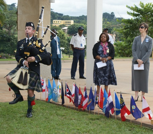 Embassy Yaounde Pauses to Remember 9/11 Colonel Morgan plays the bagpipes during the ceremony. [Photo by U.S. Embassy Yaounde] 2013