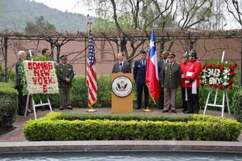 The Chargé d'Affaires of the U.S Embassy in Santiago, Stephen M. Liston, presided over an official ceremony of remembrance for the victims of the terrorist attacks on New York, Washington, D.C. and Pennsylvania occurred on 09/11/2001 (US Embassy Chile - 2013))