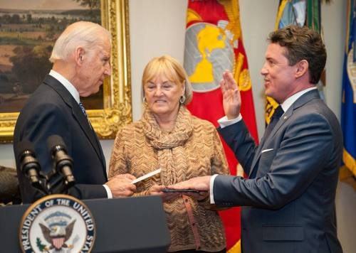 Ambassador Mamet, with mother Millie Mamet, is sworn in by vice president Joseph Biden. (Photo: Vice President's Office)