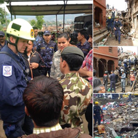 USAID supported DART teams have been on the move and just rescued a man from a building in Gongabu. Photo from US Embassy Nepal/FB