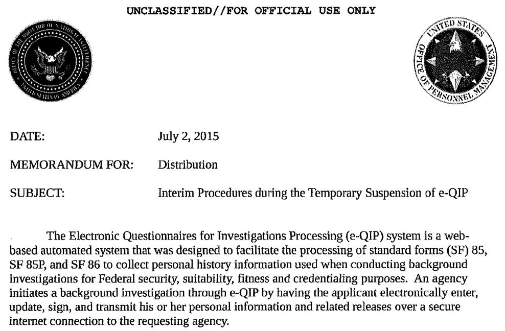 The Phantom Memo: DNI-OPM Approved Interim Procedures During e-QIP ...