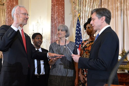"""Deputy Secretary Blinken Swears in Stephen Schwartz as the New U.S. Ambassador to Somalia Deputy Secretary of State Antony """"Tony"""" Blinken swears in Stephen Schwartz as the new U.S. Ambassador to Somalia in a ceremony at the U.S. Department of State in Washington D.C., on June 27, 2017. [State Department Photo/ Public Domain]"""