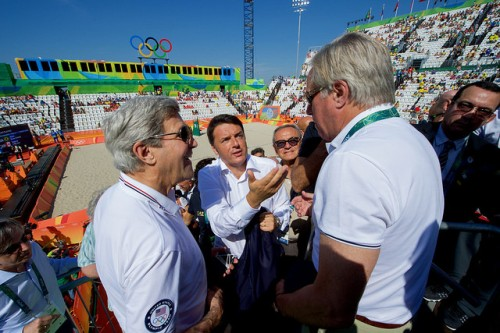 Italian Prime Minister Renzi Speaks With Secretary Kerry As They Watch An Olympic Men's Beach Volleyball Game Italian Prime Minister Matteo Renzi speaks with U.S. Secretary of State John Kerry and State Department Senior Adviser David Thorne - the former U.S. Ambassador to Italy - after they watched an Olympic men's beach volleyball game on the Copacobana beach in Rio de Janiero, Brazil, as the Secretary and his fellow members of the U.S. Presidential Delegation visit the Summer Olympics on August 6, 2016. [State Department Photo/ Public Domain]